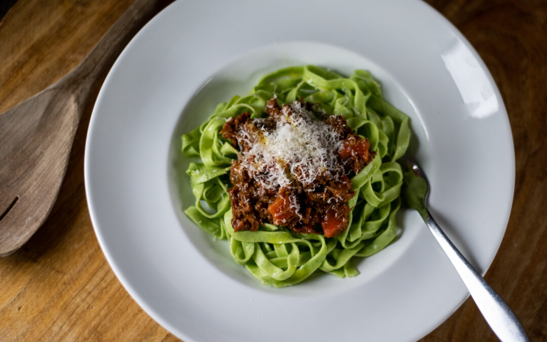Lamb Ragu with Green Pasta